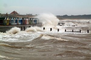 Stormy Seas batter Southwold Beach Huts