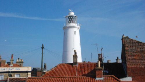 View to Southwold's iconic working lighthouse from Victoria Cottage