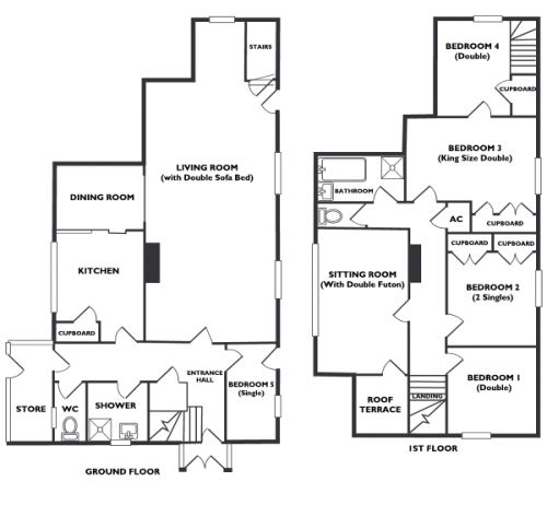The floorplans of Little Dingle Cottage, showing the large living room and the six well furnished bedrooms.