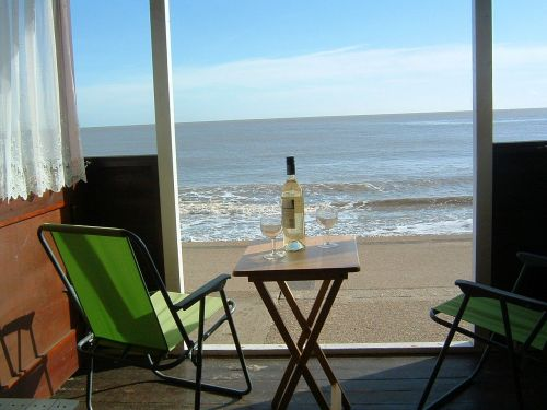 Looking out to sea from the beach hut. What a view!